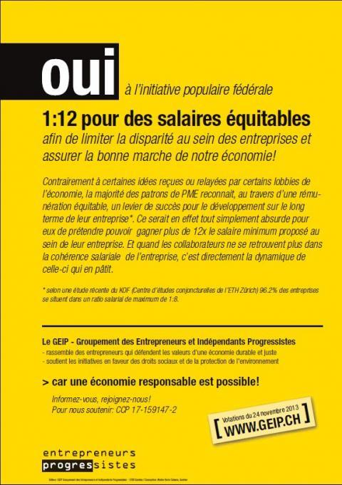 Le Groupement des Entrepreneurs et Indépendants Progressistes (GEIP) vous recommande de voter OUI à l'initiative 1:12 et adhère au comité PME pour l'initiative 1:12