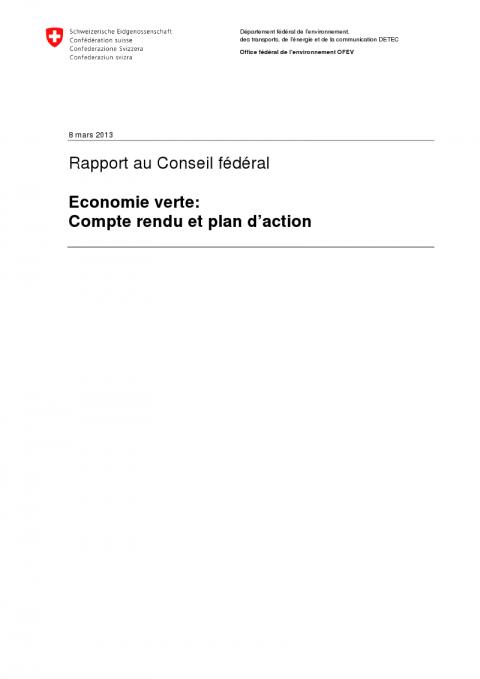 Rapport au Conseil Fédéral: Économie verte: Compte rendu et plan d'action