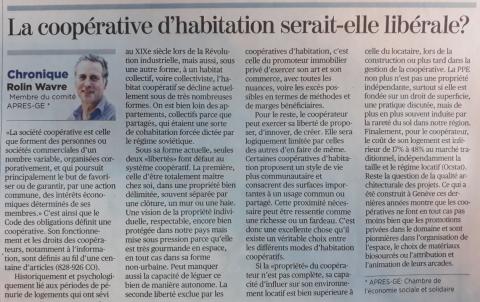 """""""La coopérative d'habitation serait-elle (aussi) libérale ?"""" - Article de Rolin Wavre"""
