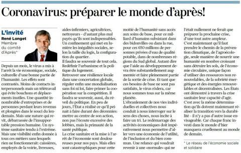 """""""Coronavirus : Préparer le monde d'Après"""" - Article de René Longet"""