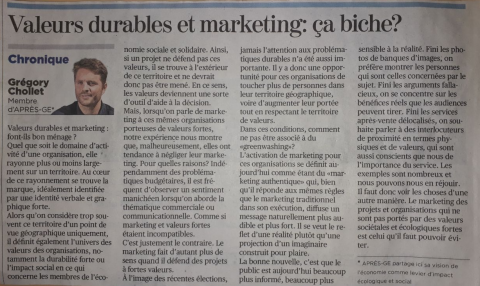 """""""Valeurs durables et marketing font-ils bon ménage?"""" - Article de Grégory Chollet"""