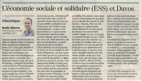 Economie Sociale et Solidaire et Davos