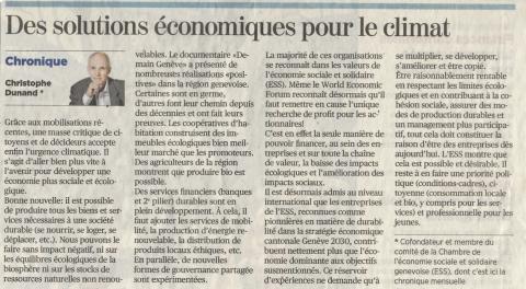 """""""L'ESS: des solutions pour le climat et du sens pour les jeunes"""" - Article de Christophe Dunand"""