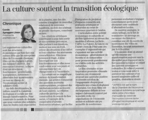 """La culture nourrit la transition écologique et sociale"" - Article de Carole Zgraggen"