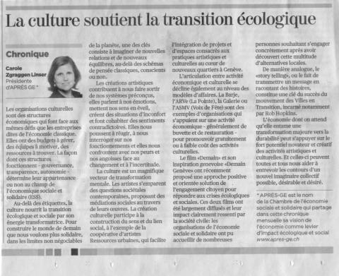 """""""La culture nourrit la transition écologique et sociale"""" - Article de Carole Zgraggen"""