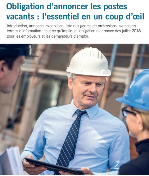 Employeurs - Obligation d'annoncer les postes vacants